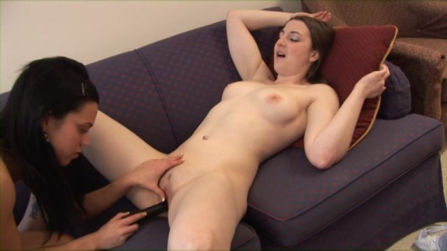 image Lusty brunettes use a huge dildo for wild fucking