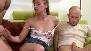 Streaming porn scene video image #4 from Skinny Brunette Gets DP