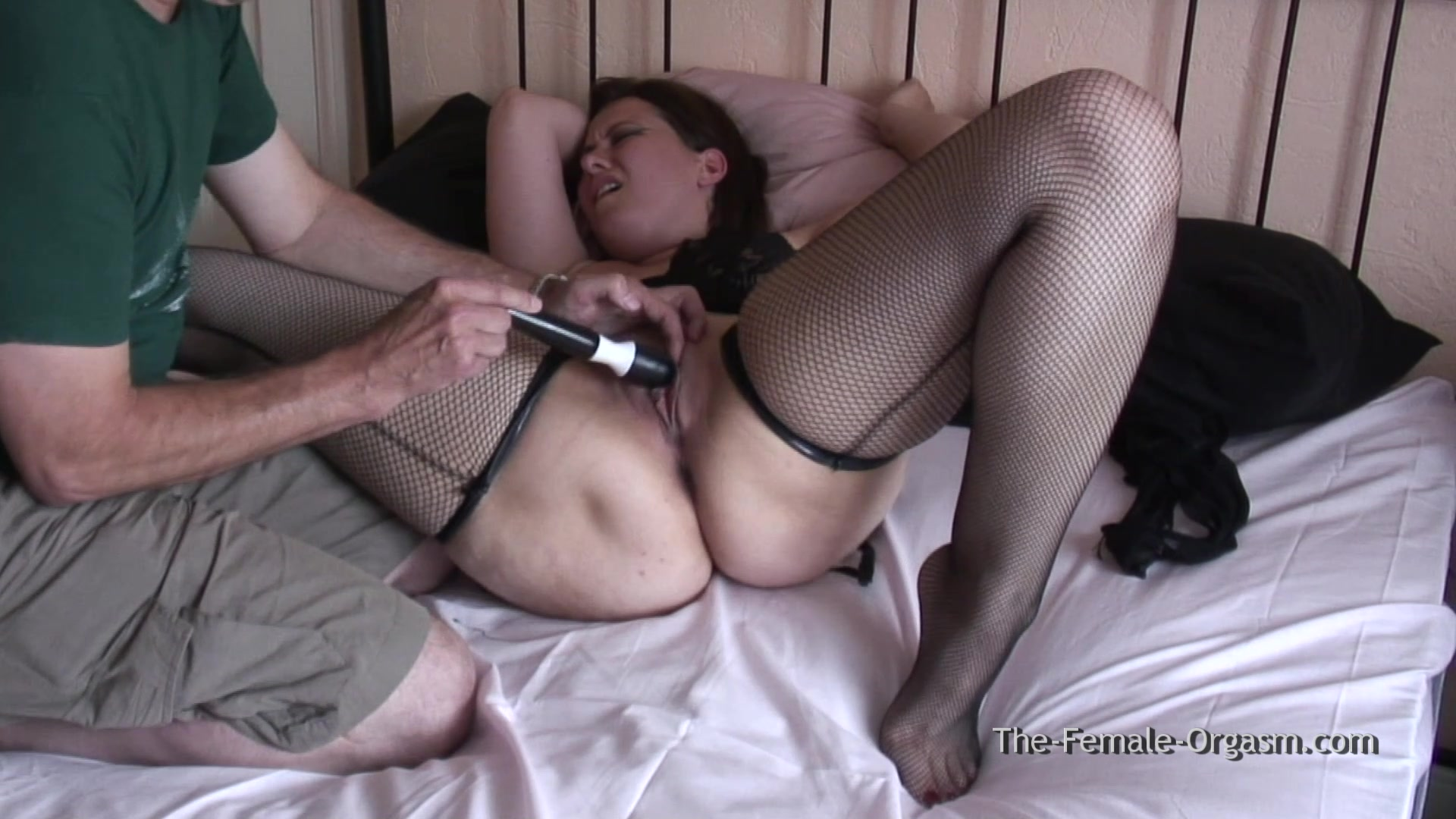 Femorg babe in fishnets multiple dripping wet pussy orgasms