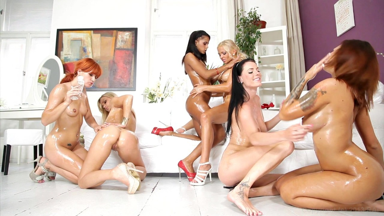 Oiled up orgy with seven beautiful ladies