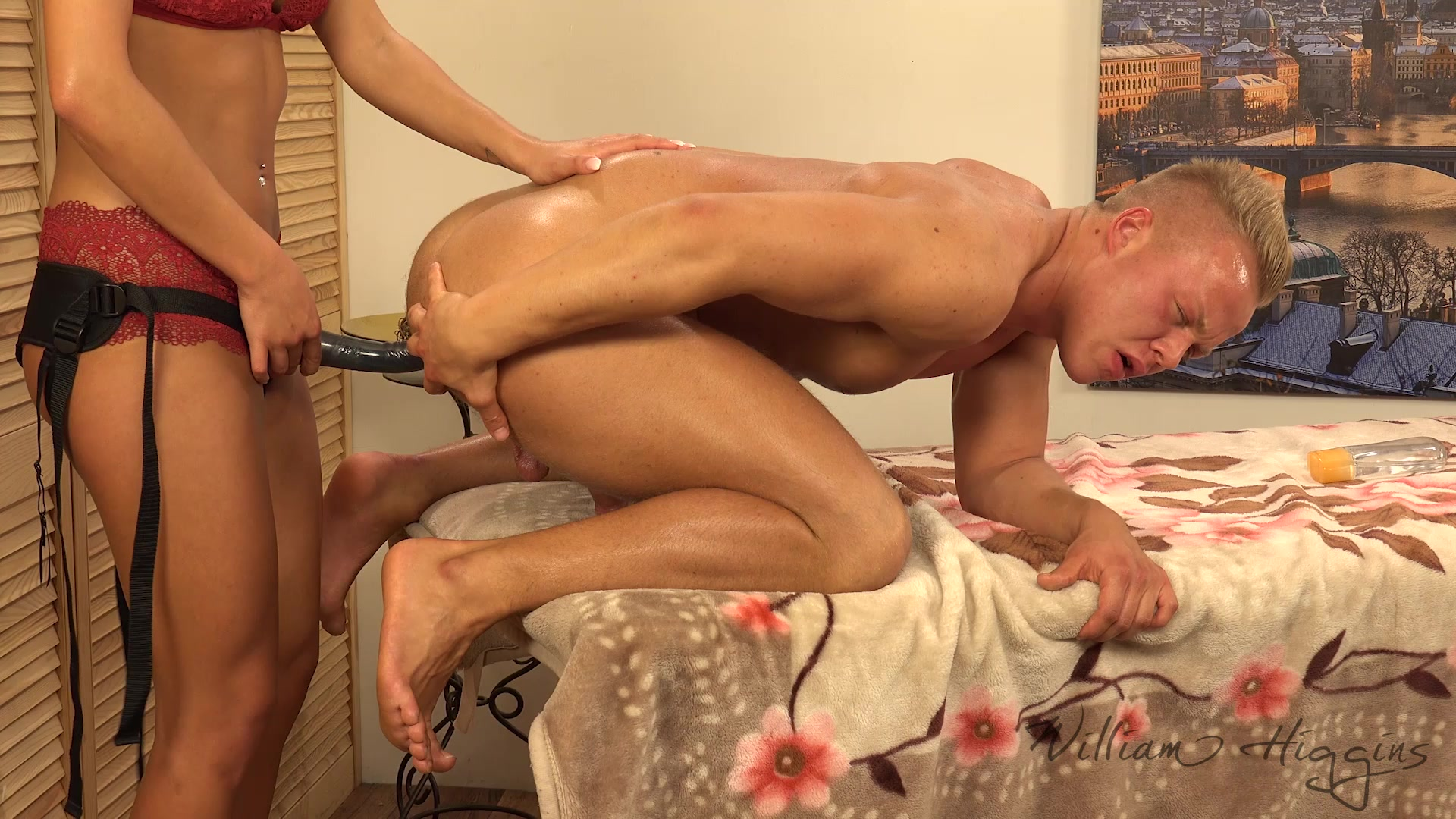 Horny stud gets his cock sucked on by two she 4