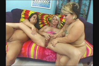 Streaming porn scene video image #7 from Lesbian threesome with two small midgets
